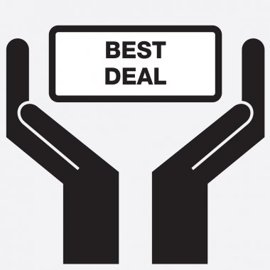 Hand showing best deal sign icon. Vector illustration.