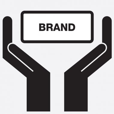 Hand showing brand sign icon. Vector illustration.