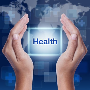 Health word on screen background. medical concept