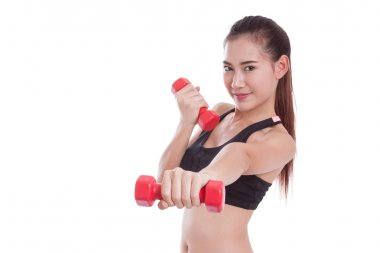 Young woman doing exercise with lifting weights