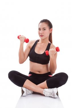 Sport woman doing exercise with lifting weights on white background
