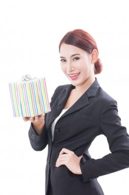 A Portrait of beautiful businesswoman with gift box on a white background