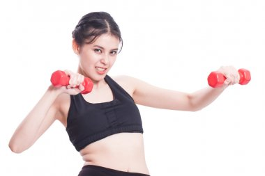 Sport woman doing exercise with lifting weights.