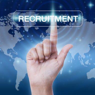 hand pressing recruitment sign