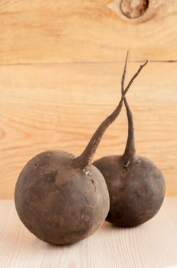 Raw black radish on wooden background