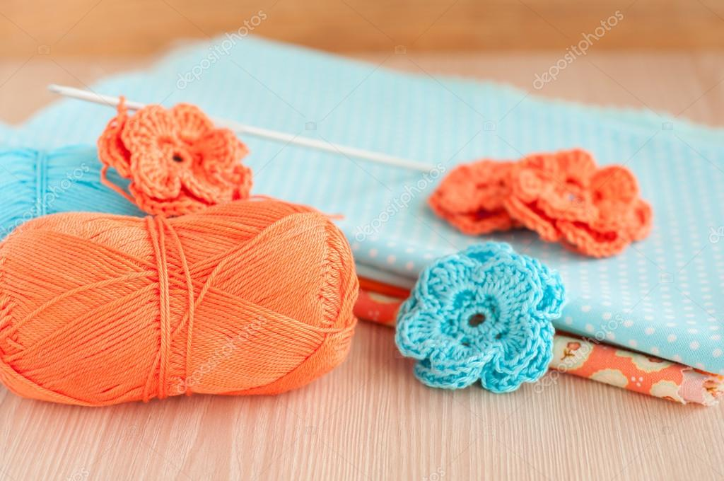 Handmade knitted crochet flowers