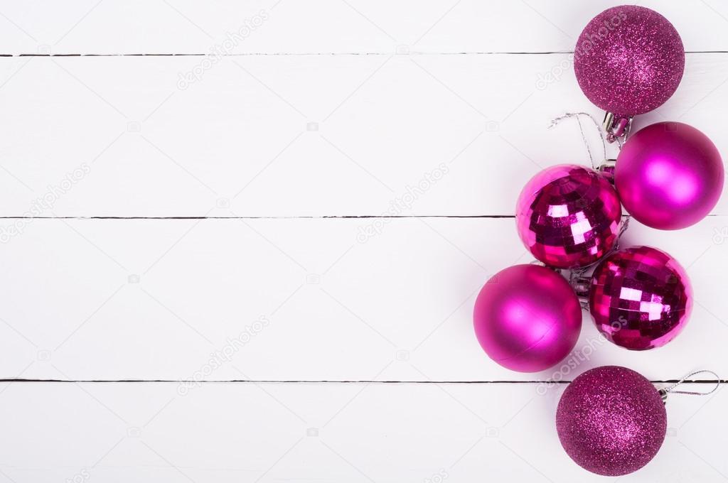 Weihnachten Hintergrund Christbaumschmuck Auf Einem Holzernen Weiss