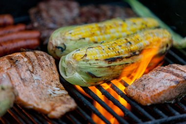 hot dogs, steaks and salmon on a grill