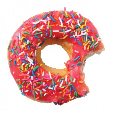 Isolated glazed donut or doughnut with pink coating