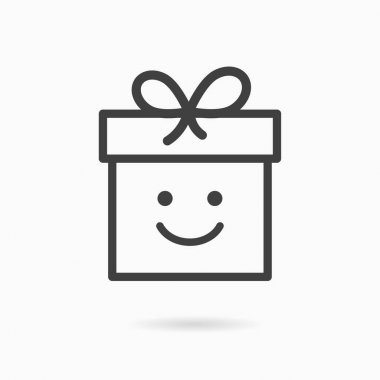Gift box line icon. Vector illustration on white background. icon