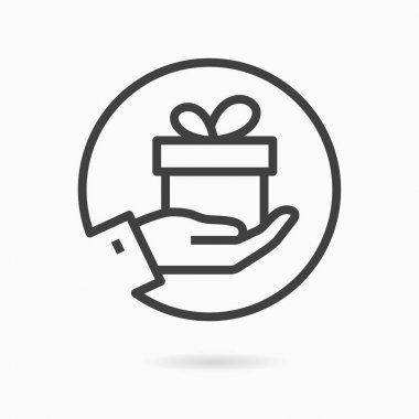 Gift box in hand line icon. Vector illustration on white background. icon