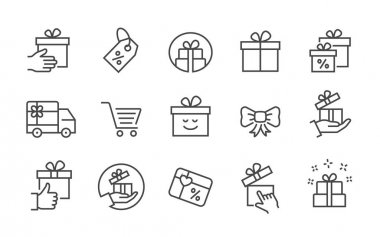 Set of gift box icons, such as present, discount, package, ribbon and more. Vector illustration. Editable stroke. icon