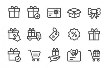Set of gift box icons, such as present, discount, package, ribbon and more. Vector illustration isolated for graphic and web design. icon