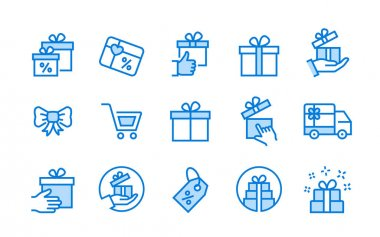 Set of gift box icons, such as present, discount, package, ribbon and more. Vector illustration. icon