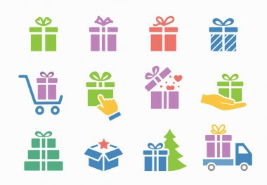 Set of gift box icons, such as present, christmas, new year, discount, Vector illustration isolated for graphic and web design. icon