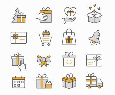 Set of gift box icons, such as present, discount, package and more. Vector illustration. Editable stroke. icon