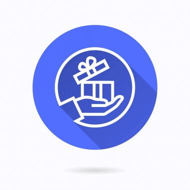 Gift in hand icon. Simple illustration with long shadow isolated for graphic and web design. icon