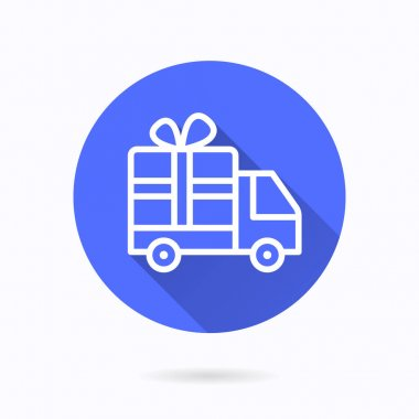 Gift delivery icon. Simple illustration with long shadow isolated for graphic and web design. icon