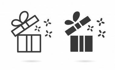 Gift box icon. Vector illustration isolated on white. icon