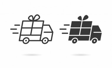 Gift delivery icon. Vector illustration isolated on white. icon