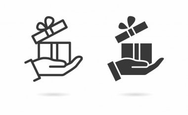 Gift in hand icon. Vector illustration isolated on white. icon
