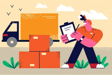 Transportation and delivery logistics concept. Young smiling man worker standing with delivery document and parcels with truck minibus on background vector illustration icon