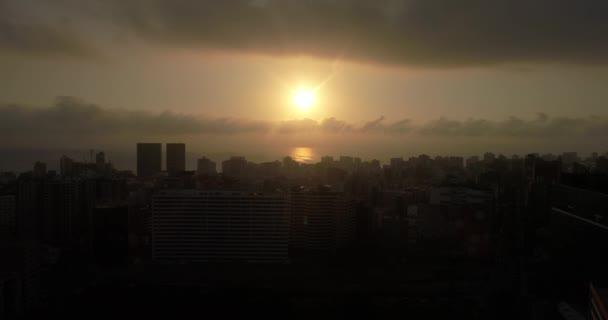 Video of sunset in Lima Peru. Sun over city, capital city of Peru.