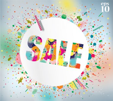 Sale poster with confetti.