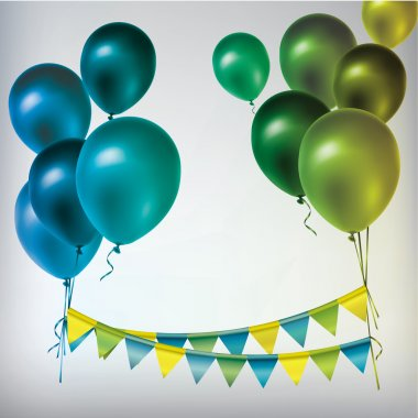Colorful balloons and paper garland.