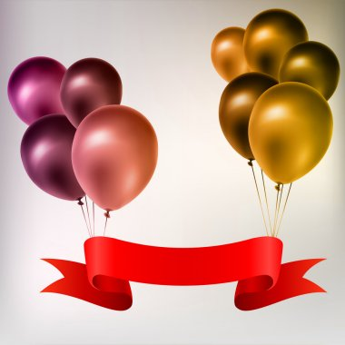 Colorful balloons with red tape.
