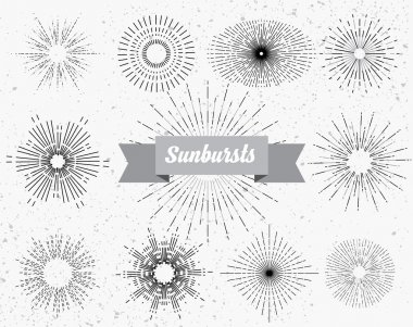Collection of vintage hipster frames with sunburst and light ray elements.