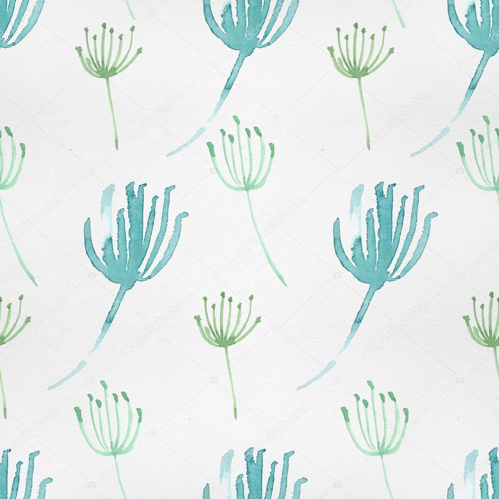 Watercolor pattern with nature elements.