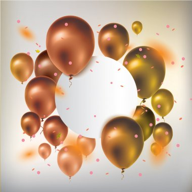 Text box banner with gold balloons and confetti. Greeting card.
