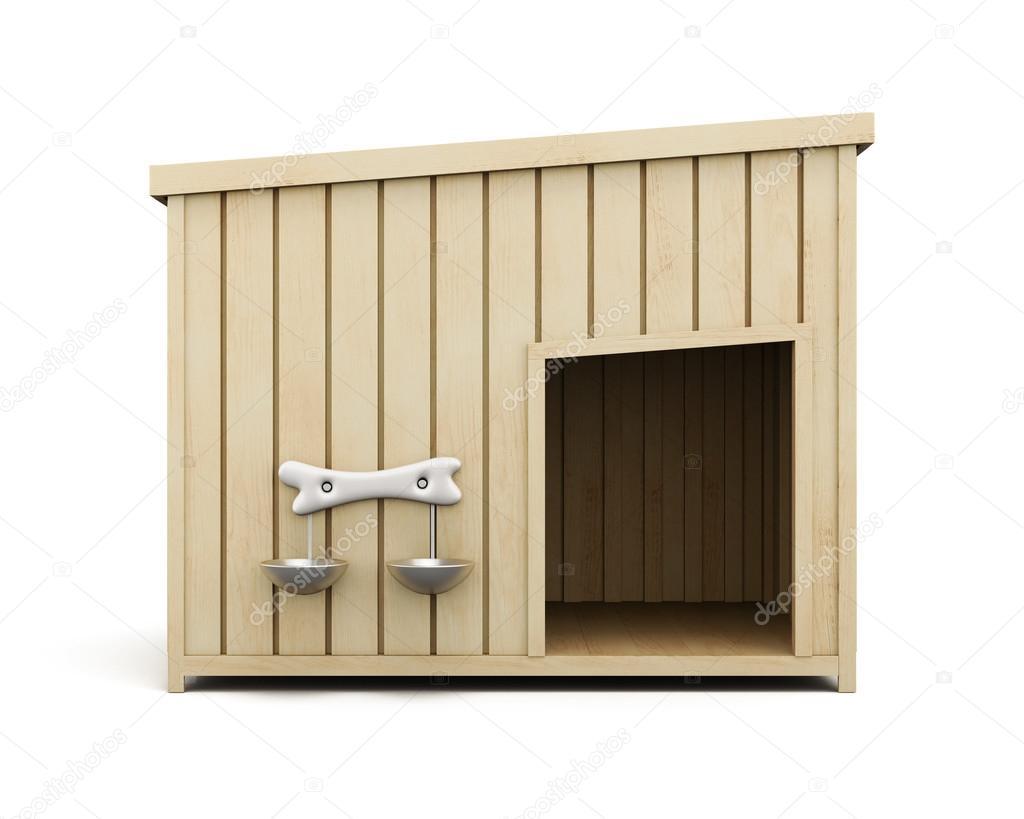 Holz-Hundehütte isoliert auf weißem Hintergrund. 3D-Rendering ...