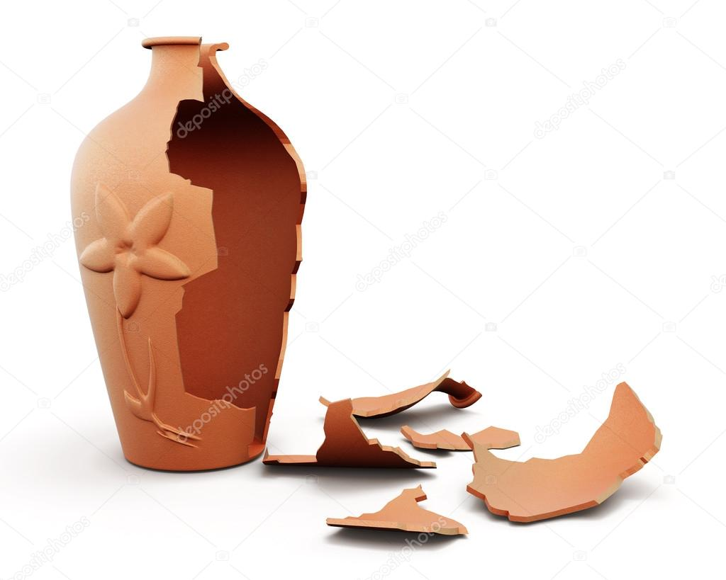 Broken clay vase isolated on white background. 3d render image