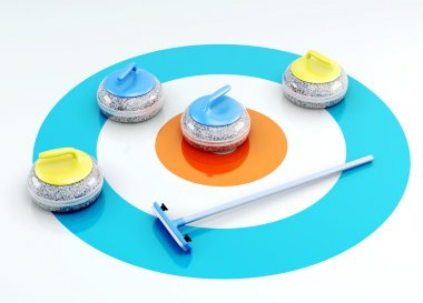 Curling stones and brush on the ice. 3d render image
