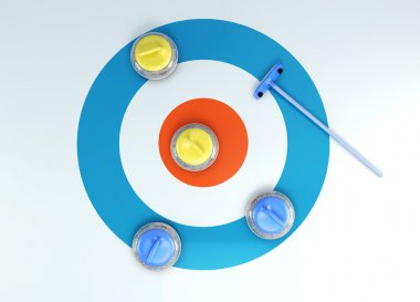 Group of curling stones top view of the ice shuffleboard. 3d ren