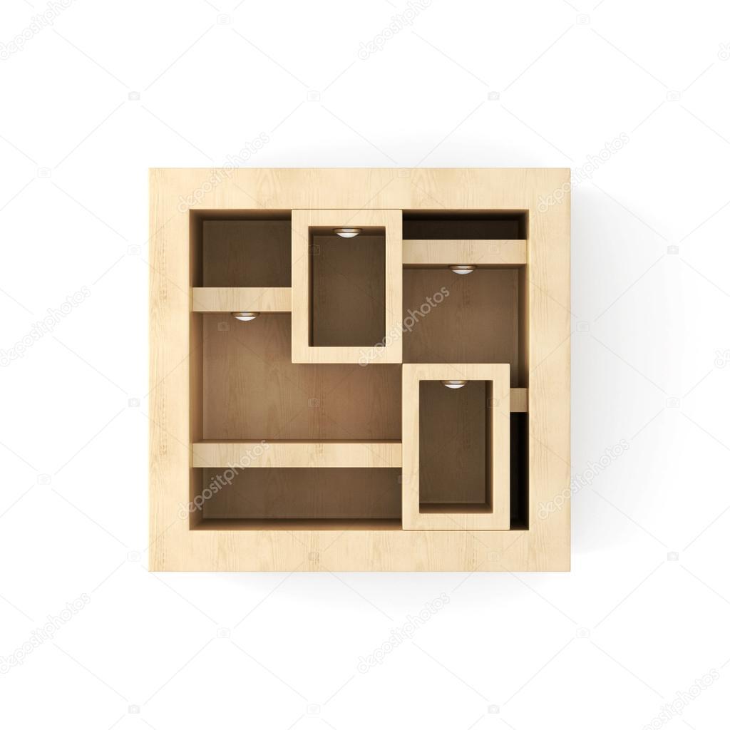 Blanco houten wand plank met verlichting op een witte. 3D-rendering ...