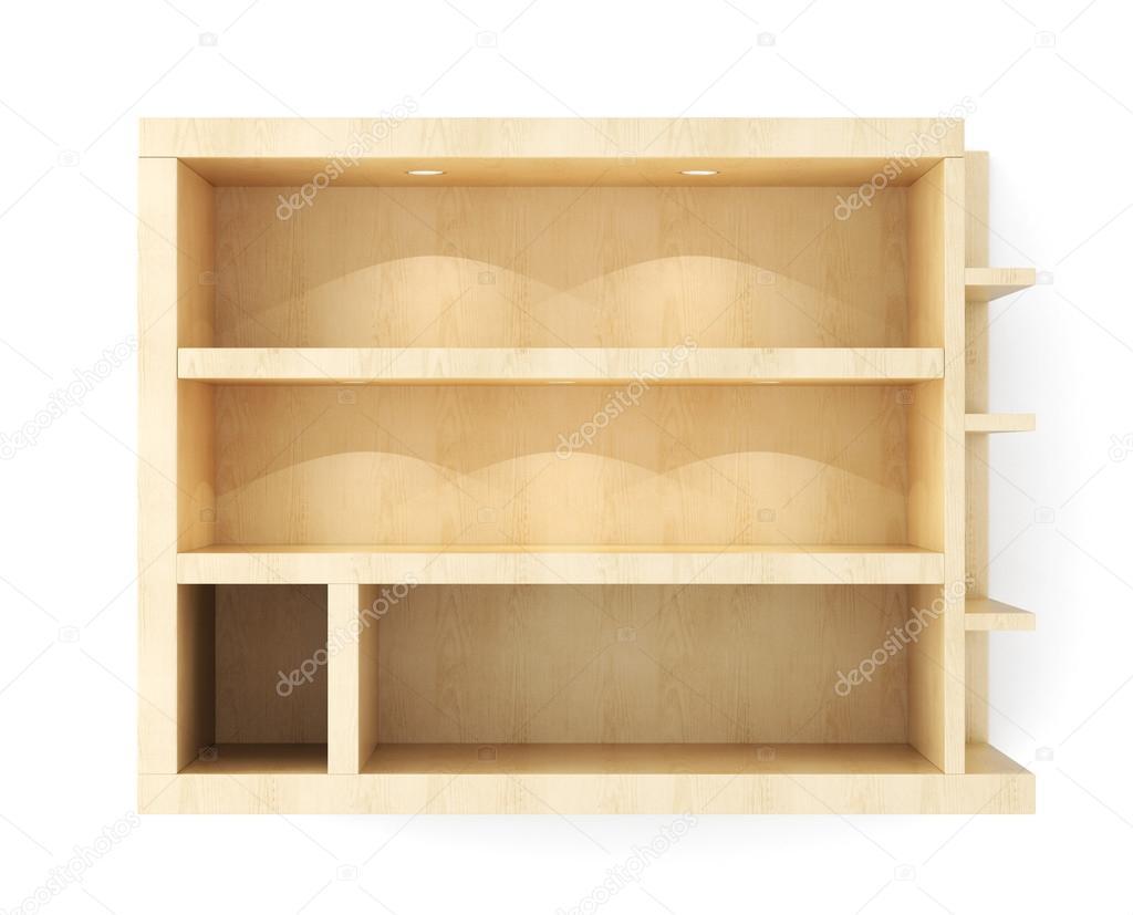 Blanco houten wand plank met verlichting geïsoleerd op witte ...