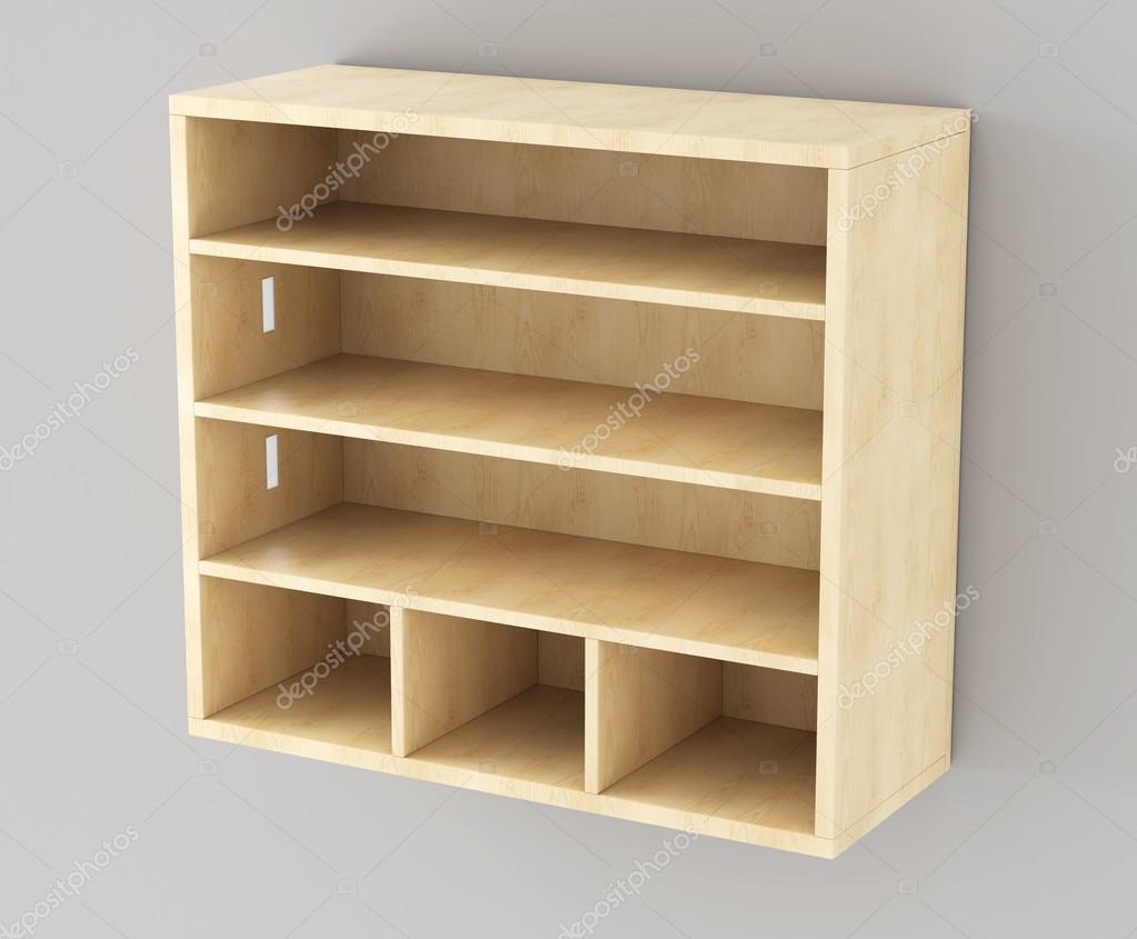 Drewniane Półki Wiszące Na ścianie 3d Zdjęcie Stockowe