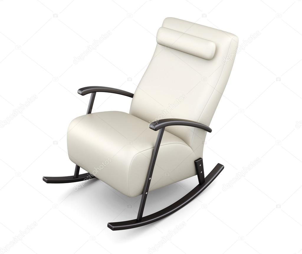 weißer schaukelstuhl isoliert auf weißem hintergrund. 3d-rendering