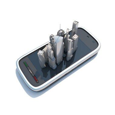 Smart phone mobile maps and navigation 3d illustration.