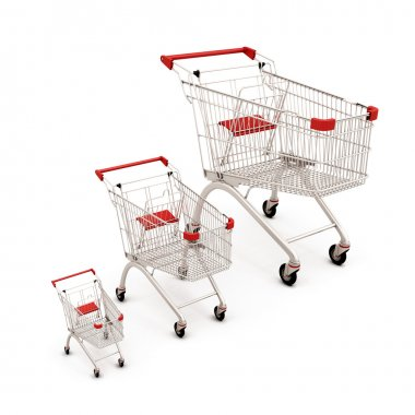 Carts for supermarkets of the different sizes