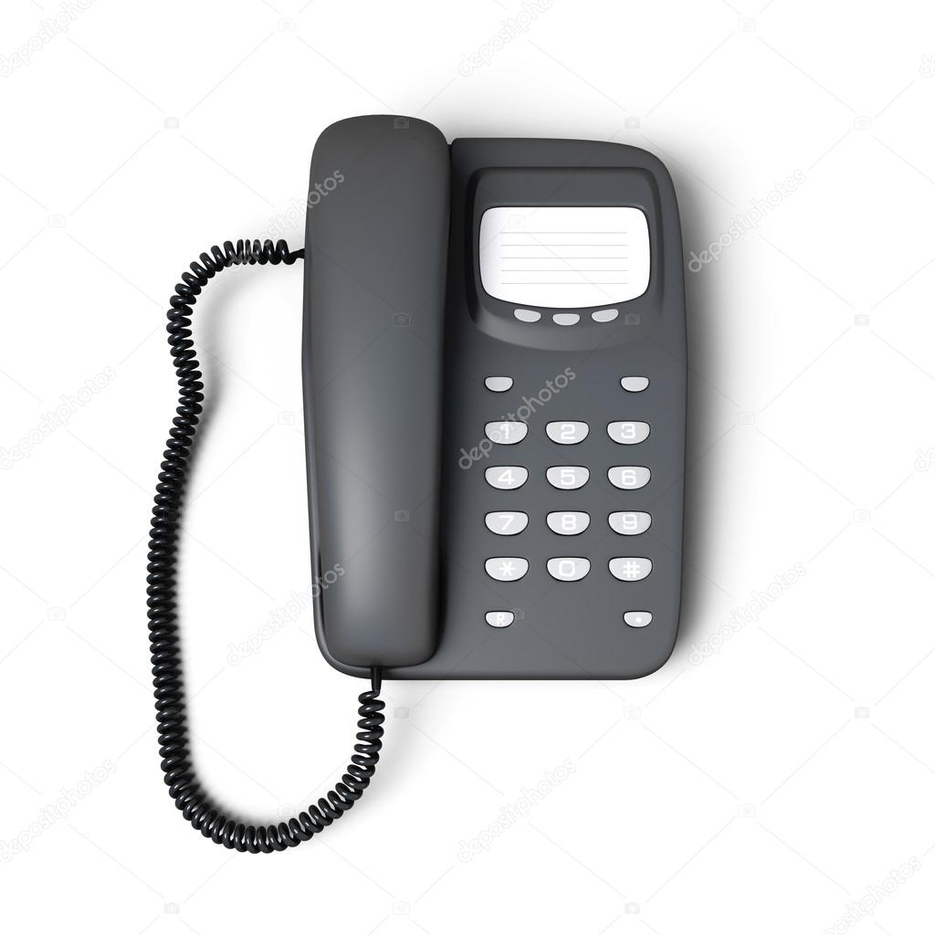 Stationary push-button telephone top view — Stock Photo