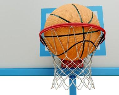 Basketball ball falling into a basketball hoop close-up