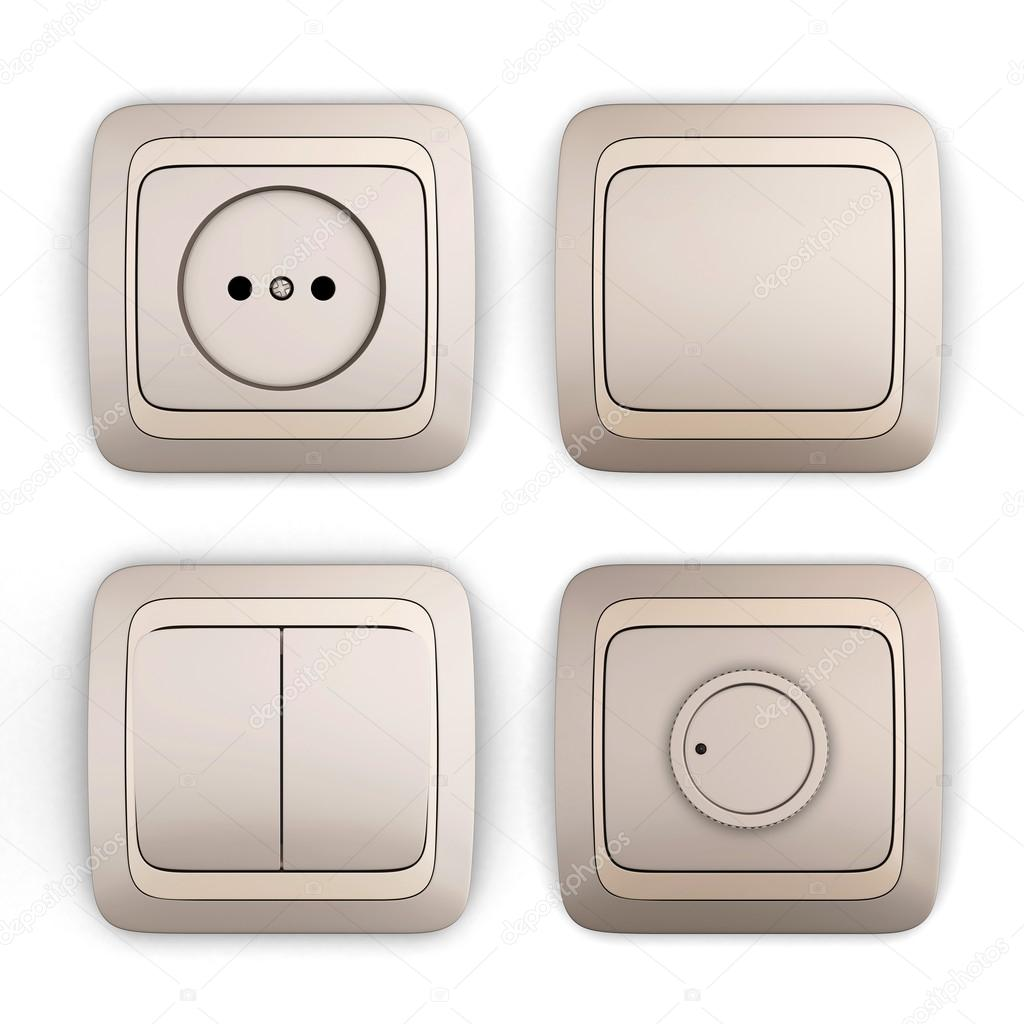 Set of switches and sockets on a white background. 3d illustration. —  Εικόνα από 3DMAVR 64fb79a4dff