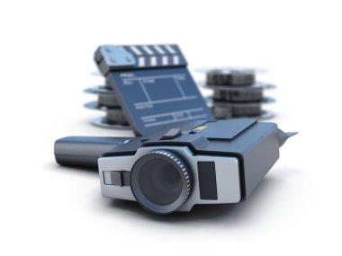 Retro movie camera clapper board and film reel