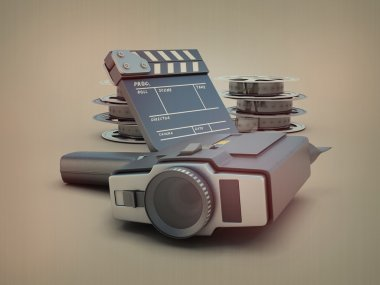 Movie camera on the background of films