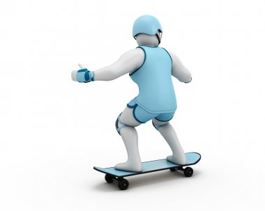 3D Illustration of a man Skateboarding
