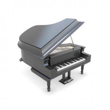 Black grand piano on a white